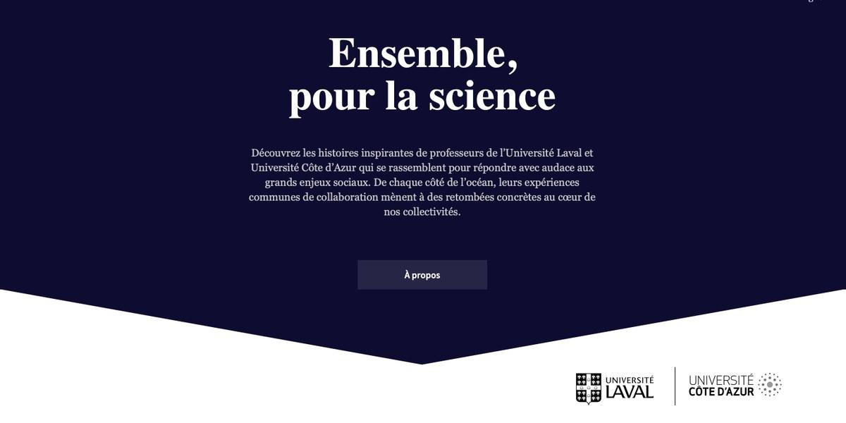 page de site de Université Laval (Québec) et Université Côte d'Azur